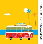 surf bus on the beach with sea... | Shutterstock .eps vector #431038708