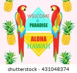 seamless pattern with parrot... | Shutterstock .eps vector #431048374