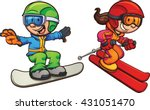 skiing and snowboarding kids.... | Shutterstock .eps vector #431051470