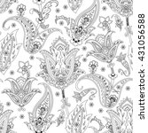 monochrome seamless paisley... | Shutterstock . vector #431056588