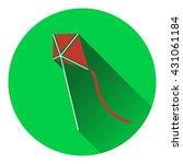 flat design icon of kite in sky ...