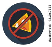 prohibited pizza icon. flat...