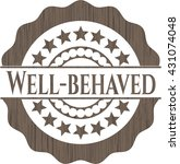 well behaved badge with wood...   Shutterstock .eps vector #431074048
