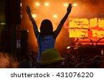 girls with hands up dancing ... | Shutterstock . vector #431076220
