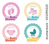 set of stickers with text and... | Shutterstock .eps vector #431090320