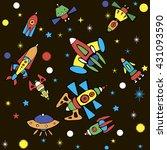 cartoon spaceship icons. kid's... | Shutterstock .eps vector #431093590