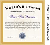 world's best mom award. printer ... | Shutterstock .eps vector #431105539