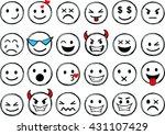 set of different smileys vector.... | Shutterstock .eps vector #431107429