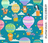 Stock vector seamless pattern with colorful hot air balloons and animals vector illustration 431108839