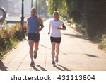jogging couple warming up and... | Shutterstock . vector #431113804