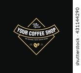 coffee shop logo  cup  beans ... | Shutterstock .eps vector #431144290