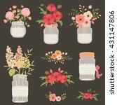 Flowers In Mason Jars. Hand...