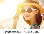 beautiful young woman enjoy... | Shutterstock . vector #431152183