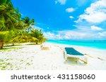 beautiful tropical beach and... | Shutterstock . vector #431158060