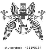 ancient assyrian winged deity.... | Shutterstock .eps vector #431190184