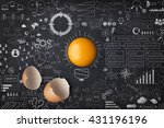 egg yolk ball forming a shape... | Shutterstock . vector #431196196