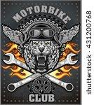 vintage tiger motorcycle label   Shutterstock .eps vector #431200768