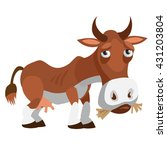 hungry cow eating straw. vector ... | Shutterstock .eps vector #431203804