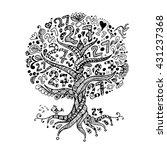 tree 27 with roots  zentangle... | Shutterstock .eps vector #431237368
