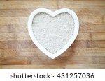white rice in heart shape bowl | Shutterstock . vector #431257036