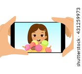 smartphone photo of cute girl... | Shutterstock .eps vector #431259973