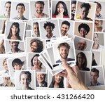 man holding passport photos | Shutterstock . vector #431266420