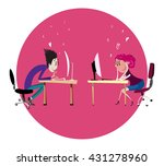 chatting couple | Shutterstock .eps vector #431278960
