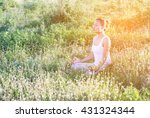 yoga in the city  beautiful... | Shutterstock . vector #431324344
