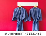 bathrobe hanging for spa in the ... | Shutterstock . vector #431331463