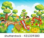 children playing with toys on... | Shutterstock .eps vector #431339380