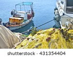Small photo of old fishing boats at a harbor Aegean island Greece