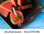 Cold Watermelon Smoothie On A...