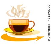cup of hot coffee  glass  arrow. | Shutterstock .eps vector #431390770