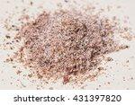 pile of grated ground nutmeg on ... | Shutterstock . vector #431397820