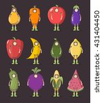 fruit and vegetables man set.... | Shutterstock .eps vector #431404450