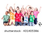 group of kids with soccer ball...   Shutterstock . vector #431405386