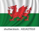 Vector Waving Flag Of Wales