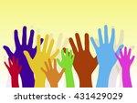 dancing hands crowd vector | Shutterstock .eps vector #431429029