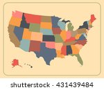 colorful political usa map....   Shutterstock . vector #431439484