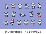 Set Vector Stock Illustrations isolated Emoji character cartoon Panda stickers emoticons with different emotions for site, info graphic, video, animation, websites, e-mails, newsletters, report, comic | Shutterstock vector #431449828