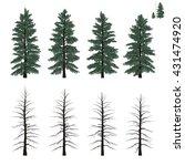 set of mature firs trees | Shutterstock .eps vector #431474920