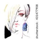 woman face. watercolor fashion... | Shutterstock . vector #431477908