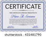 blue certificate or diploma... | Shutterstock .eps vector #431481790