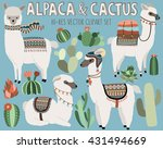 cute vector llama and cactus... | Shutterstock .eps vector #431494669