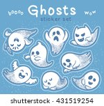 sticker set of cute cartoon... | Shutterstock .eps vector #431519254