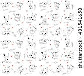 Stock vector cute vector cats seamless pattern 431541658