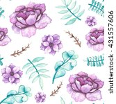 watercolor pink flowers and... | Shutterstock . vector #431557606