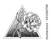 blackwork tattoo flash. peony... | Shutterstock .eps vector #431560708