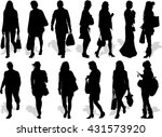 set of 13 vector's silhouettes... | Shutterstock .eps vector #431573920