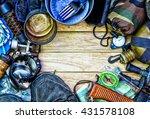 tcamping gear  on wooden... | Shutterstock . vector #431578108